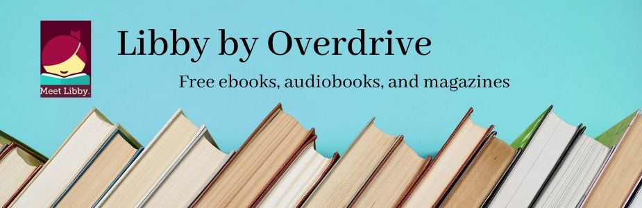 blue background with books and libby icon